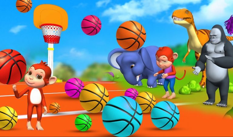 Funny Animals play Basketball Games in Forest with Monkey & Gorilla | Animals Cartoon Comedy Video